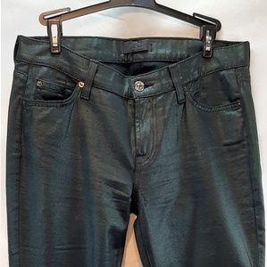 7 for all mankind dark metallic green Jean's 0